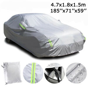 "6-Layer Waterproof Car Cover All Weather Protection for Sedan Up to 185""L Silver"