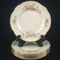 Set of 5 VTG Bread Plates by Homer Laughlin HLC2246 Ivory with Pink Floral USA