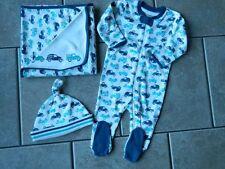 Sz 3-6 months outfit Gymboree 3 pc.set,trucks,sleeper,hat,receiving blanket,NWT