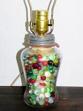 Antique 1929 Speas 12 Panel U Savit Vinegar 1 Quart Jar & Old Glass Marbles Lamp