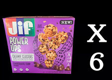 6 X JIF POWER UPS CREAMY CLUSTERS CHOCOLATE CHIP FLAVORED 5 POUCHES PER BOX