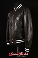 Men's BASEBALL Leather Jacket Black College Varsity Real Leather Bomber Jacket
