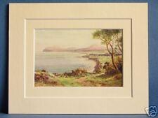 KILLINEY BAY AND BRAY HEAD LEINSTER IRELAND VINTAGE DOUBLE MOUNTED PRINT c1920
