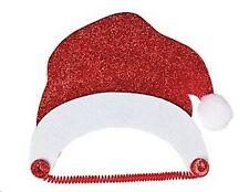 1 Santa Hat Foam Visor Covered with Red Glitter