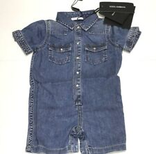 D&G Boys Kids New Baby ONE PIECE DENIM JUMPER OUTFIT Sz 3/6 RTL $235 P797