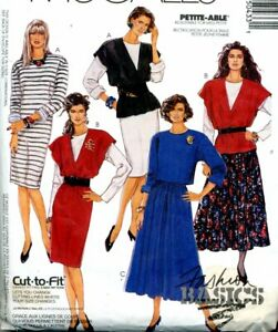 Cut Sewing Pattern Ladies Pullover Top Dress Elastic Gored Skirt Size 12-16