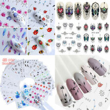 40 Sheets Nail Art Stickers Watercolor Water Transfer Decals Flowers Tips DIY