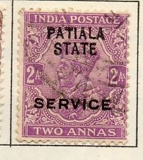 États indiens patiala gv 1912 early question fine utilisée 2a. optd 055653