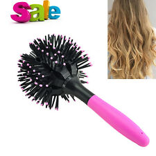 Gift 3D Bomb Curl Brush Styling Salon Round Hair Curling Curler Comb Pink Beauty