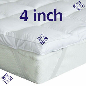 """4"""" Inch Deep Luxury Best Quality Microfiber Soft Mattress Toppers UK Bed Sizes"""