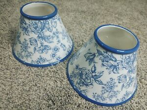 Set of 2 Large Jar candle lamp from The White Barn Candle Co, blue white floral