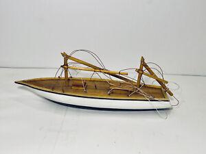"Vintage Wood Pond Sail Model Display Sailboat Nautical Ship 12""x 2"" Sail Gift"