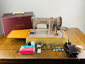 Singer 185k Electric Sewing Machine Semi Industrial Heavy Duty Pedal Tools Case