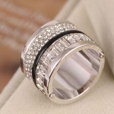 MICHAEL KORS Brilliance Silver Pave Black Barrel Logo Baguette Ring Size 8