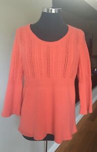 Chunky, Thick&Soft ANN TAYLOR Coral 100% Cashmere Cable Knit Jumper  XL EUC