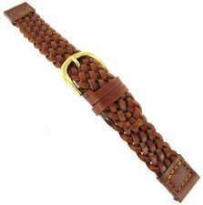14mm Hirsch Genuine Leather Braided Tan Brown Replacement Watch Band 1557 02 70