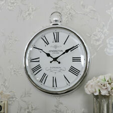 Large Round Silver Pocket Watch Design Kensington Wall Clock Home Decor