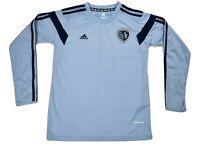 adidas MLS Youth Sporting Kansas City Long Sleeve Soccer Jersey NWT $45 S,M,L,XL