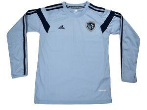 adidas MLS Youth Sporting Kansas City Long Sleeve Soccer Jersey NWT $45 M, L
