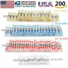 200pcs Solder Sleeve Heat Shrink Wire Butt Splice Connector Waterproof Terminals