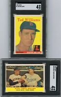 1958 Topps Lot TED WILLIAMS + WILLIE MAYS & SNIDER Card Both Graded SGC VG EX 4