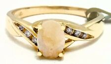 NATURAL 0.42 Cts Australian OPAL & DIAMONDS RING 14k YELLOW GOLD *New with Tag*