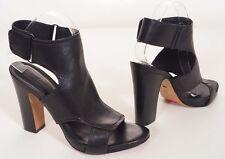 Pour La Victoire Womens Black Leather Peep Toe Ankle Strap Heels Shoes 10 M