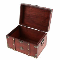 Vintage Wooden Jewelry Storage Case Treasure Chest Box Home Table Decor B