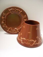 Yankee Candle Shade BROWN Tan/Scallop Theme w/Matching Plate