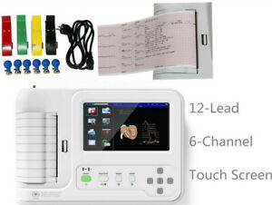Digital Electrocardiograph 6 channel 12 Leads ECG machine Touch screen CE FDA