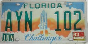 FLORIDA CHALLENGER SHUTTLE licence/number plate US/United States/USA/American