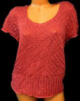 Emma james pink shimmer short sleeve scoop neck open crochet sweater top 2X