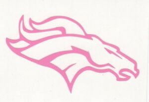 Pink Denver Broncos helmet car window RTIC decal sticker up to 12 inches