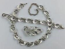 Vintage Mid Century Modern Designer Lisner Silver Leaf Pin Bracelet Earring Set