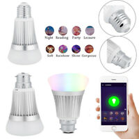 B22/E27 7W WIFI Smart Light Bulb Wireless Dimmable RGBW LED Lamp Voice Control H