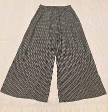 Womens XHILARATION Size Large Black White FLORAL Wide Legs Rayon Lounge PANTS