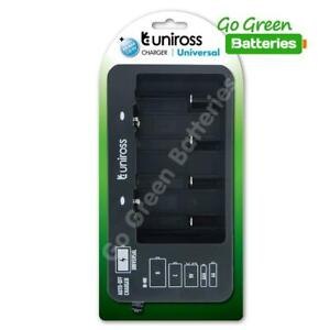 Universal Rechargeable Battery Charger Uniross for AA AAA C D 9v PP3 Nimh Mains