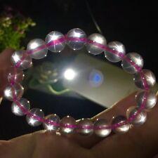 Natural Rose Quartz Star Light Pink Crystal Round Beads Bracelet 10 mm AAA