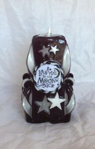 I love you to the Moon and Back Hand Carved Black Candle