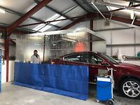 CLEAR AND BLUE COMPRESSOR  WORKSHOP PREP AUTO BODY CURTAINS 20 FT X 8 FT