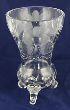 Vintage Crystal Footed Vase on Three Legs with Floral Pattern