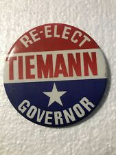 New listing Vintage Re-Elect Tiemann Governor Pin