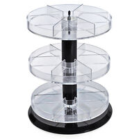 """New Retail Three Tier Acrylic Counter Display with Dividers 11"""" Dia. x 13.5""""H"""