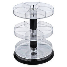 "New Retail Three Tier Acrylic Counter Display with Dividers 11"" Dia. x 13.5""H"