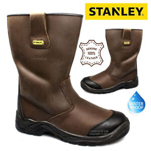 NEW MENS STANLEY S3 WATERPROOF LEATHER STEEL TOE CAP  RIGGER SAFETY WORK BOOTS