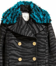 NWT Kenzo H&M Black Zebra Faux Fur Collar Long Wool Blend Coat Sz 2 (oversized)