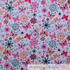 BonEful FABRIC Cotton Quilt White Pink Gray Orange Flower Butterfly Bird L SCRAP