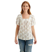 Lucky Brand NEW $40 Sz M Boho Floral Flutter Sleeve Peasant Top Blouse Cream