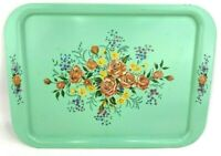 Vintage Mint Green Metal Serving Dining Tray Floral Print Mid Century TV Lap