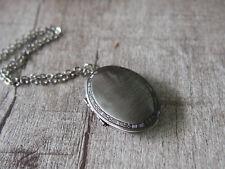 Oxidized Silver Locket Pendant Necklace Silver Color Locket Oval Locket